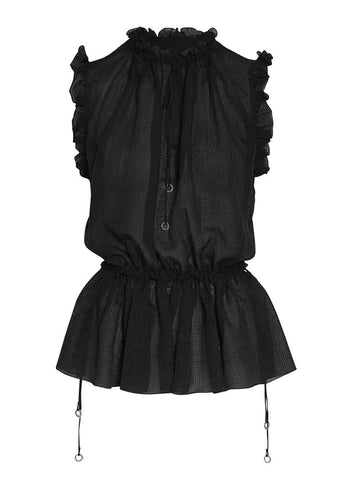 Hanne Bloch Black Silk Frill Top