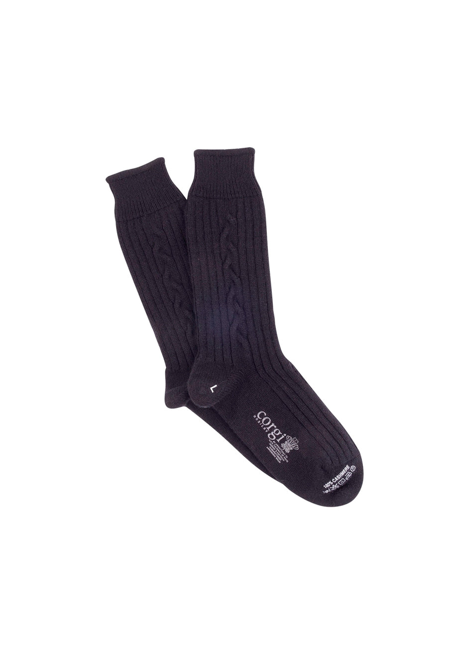 Women's Black Cable Cashmere Socks