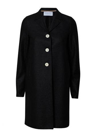 Harris Wharf London Black Light Pressed Wool Boxy Coat shop online