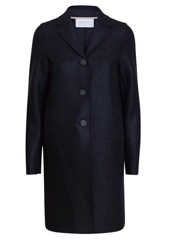 Harris Wharf London Dark Blue Boxy Wool Coat