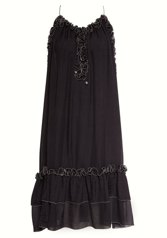 Hanne Bloch Black Silk Frill Dress