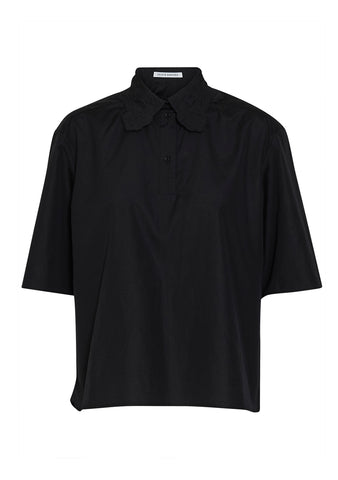 Cecilie Bahnsen Allie Black Embroidered Polo Shirt