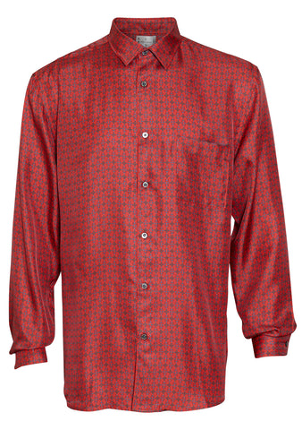 All At Sea Blue Anchor Silk Shirt
