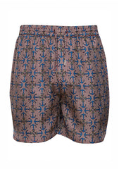 All At Sea Blue Anchor Silk Shorts