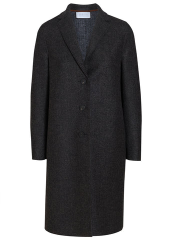 Harris Wharf London Brown Double Faced Wool Overcoat