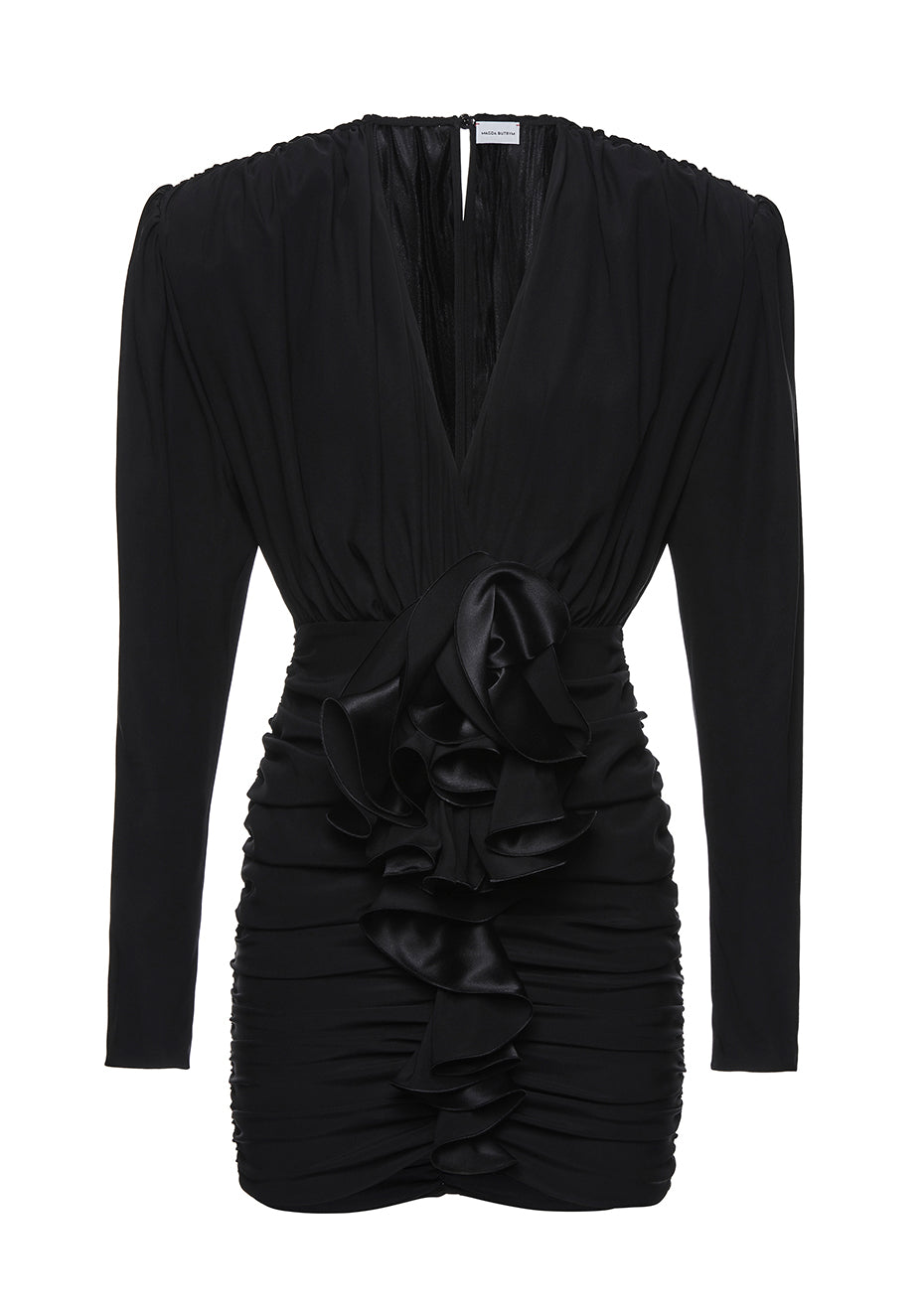 Burgos Black Ruched Mini Dress