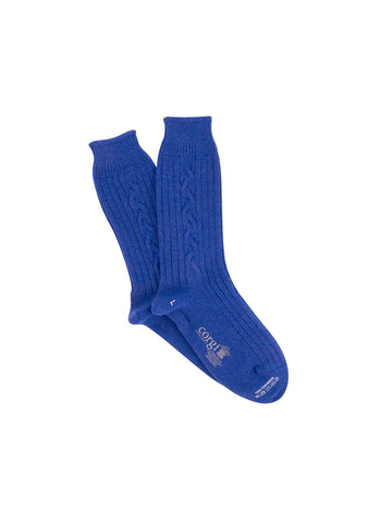 Corgi Women's Cobalt Cable Cashmere Socks