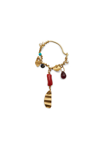 Olga Bonne Hoop With Ruby, Turquoise, Coral and Beads shop online at lot29.dk