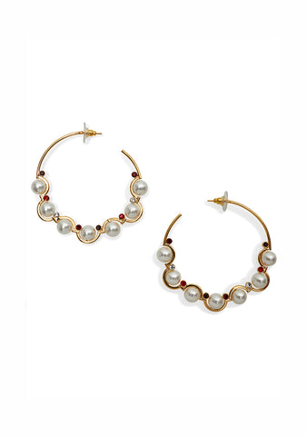 Erdem Burgundy Crystal Hoop Earrings shop online at lot29.dk
