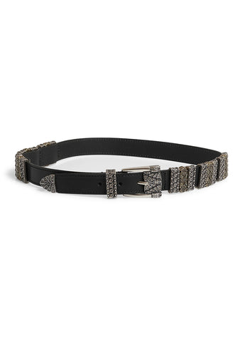 Etro Black Leather Belt