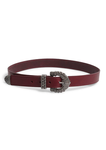 Etro Burgundy Leather Belt