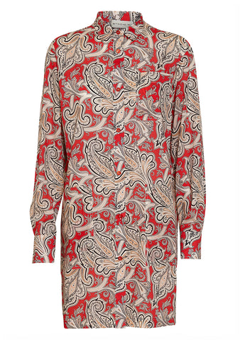 Etro Red Paisley Shirt Dress