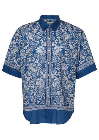 Etro Blue Printed Short Sleeve Shirt shop online at lot29.dk