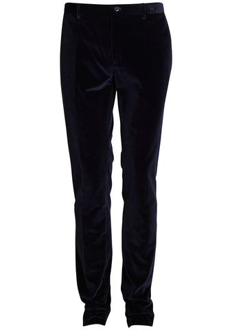 Etro Men Navy Velvet Manhattan Pants