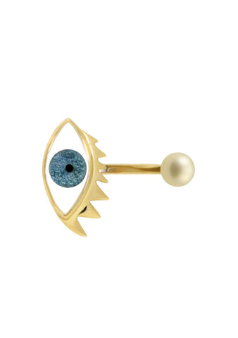 Delfina Delettrez Light Blue Glitter Eye Piercing Ring