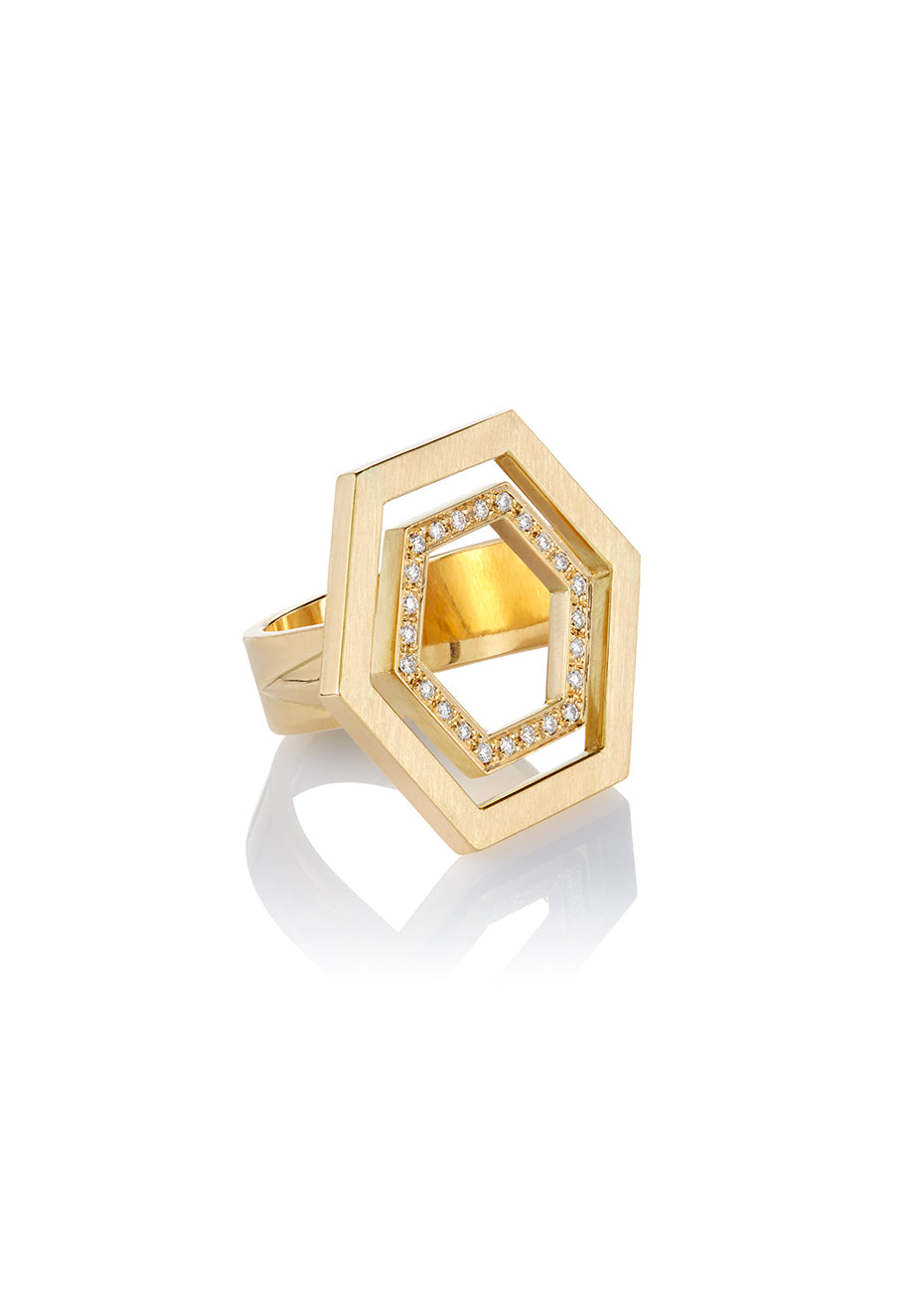 Floating Hexagon Ring