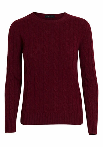 Burgundy Cashmere Cable-knit Sweater