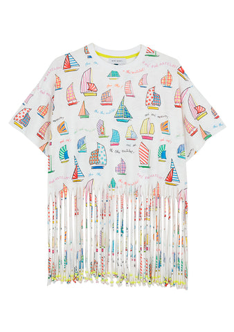 Mira Mikati Sail Boat Beaded Fringe T-Shirt shop online at lot29.dk