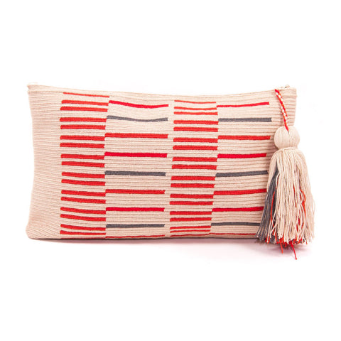Orange and Grey Wayuu Clutch