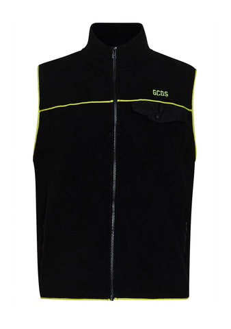 GCDS Men Yellow Fleece Vest