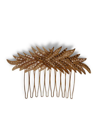 MC Davidian Cream & Gold Feather Hair Comb