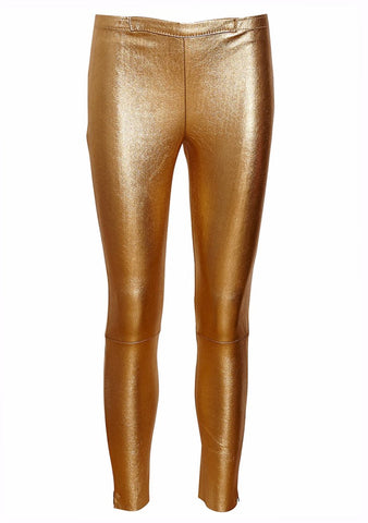 UTZON Gold Leather Leggings