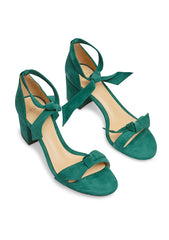 Clarita Forest Green Suede Sandals