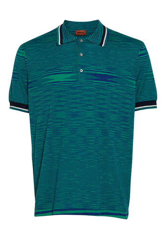 Missoni Men Green Striped Polo Shirt