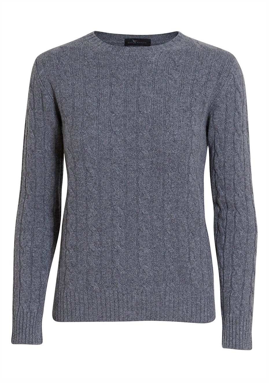 Grey Cashmere Cable-knit Sweater
