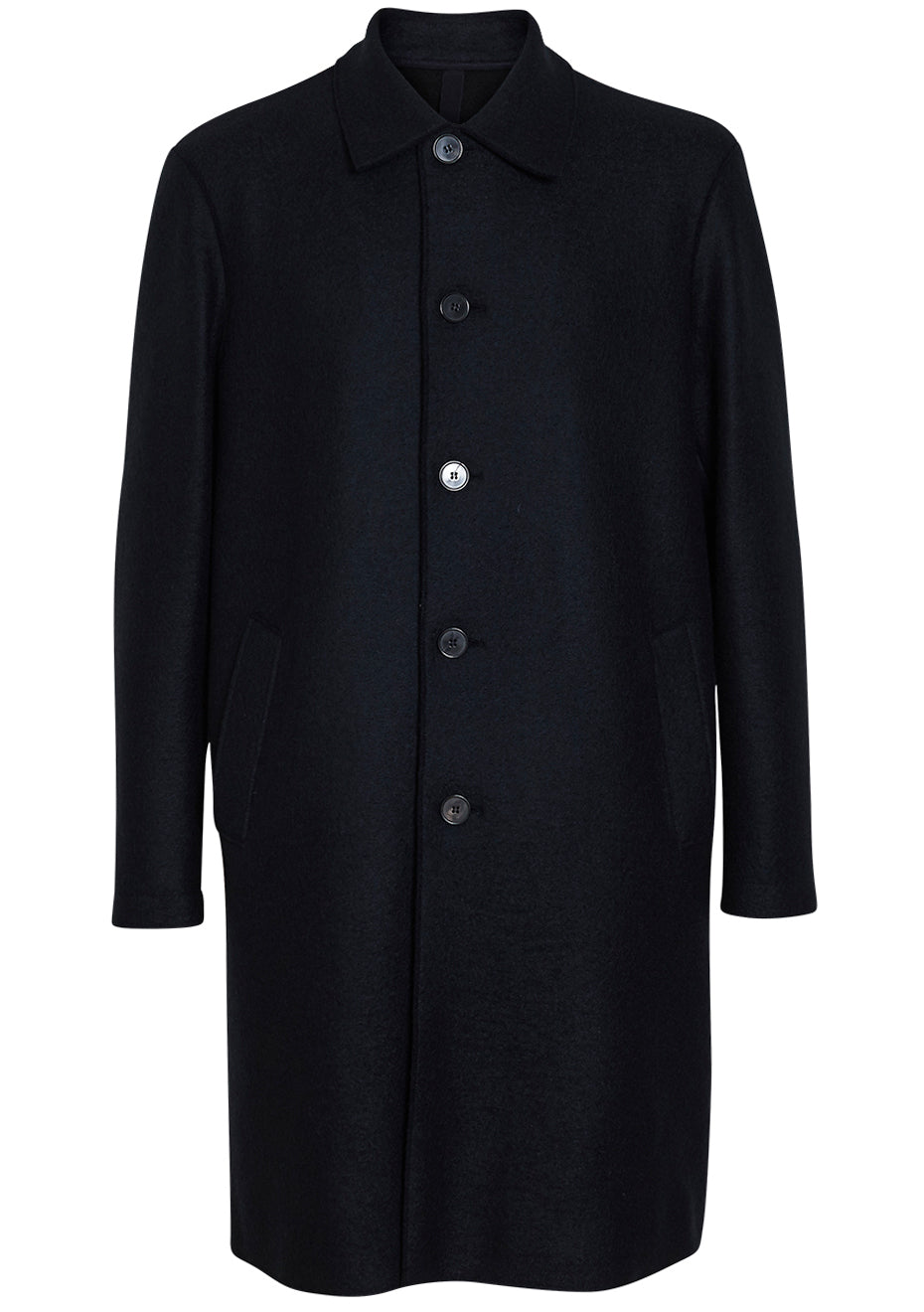 Dark Blue Pressed Wool Polaire Coat