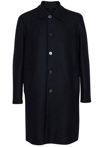 Harris Wharf London Dark Blue Pressed Wool Polare Coat