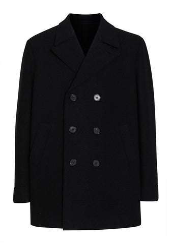Harris Wharf London Black Boiled Wool Peacoat