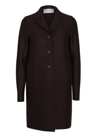 Harris Wharf London Chocolate Pressed Wool Boxy Coat