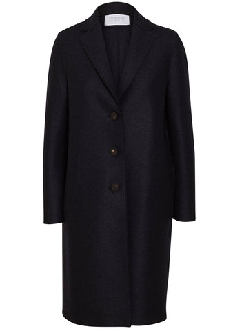 Harris Wharf London Navy Pressed Wool Overcoat