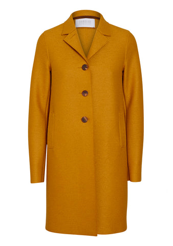 Harris Wharf London Golden Yellow Pressed Wool Boxy Coat