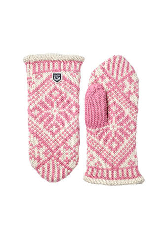 Hestra Nordic Wool Pink Knit Mittens