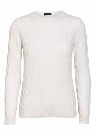 Bad Habits White Cashmere Cable Sweater