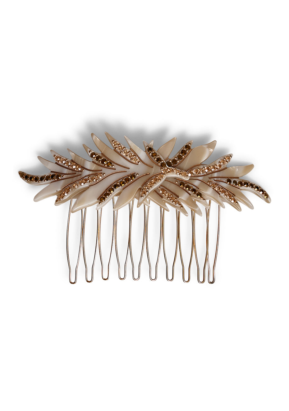 Ivory Feather Hair Comb