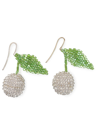 Sparkly Silver Cherry Earrings