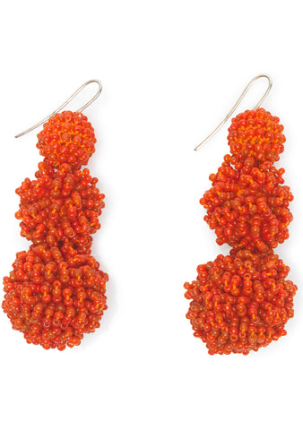 Coral Fringed Ball Earrings