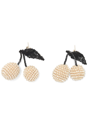 Cream Two Cherries Earrings
