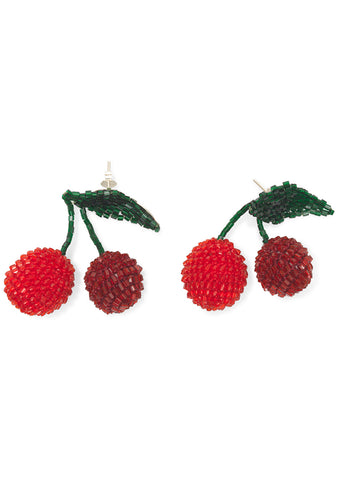 Red Two Cherries Earrings
