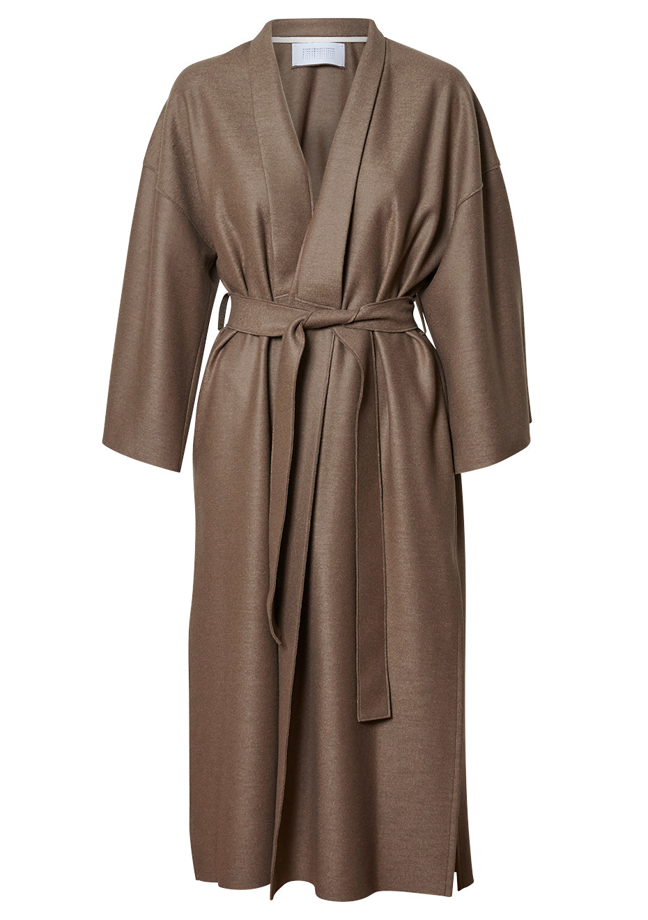 Taupe Light Pressed Wool Kimono Coat