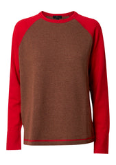 Brown & Poppy Red Rugby Cashmere Sweater