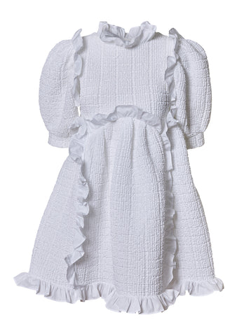 Lotta White Smock Ruffle Dress