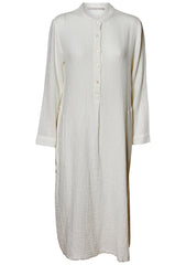 Gauze Henley Dress White