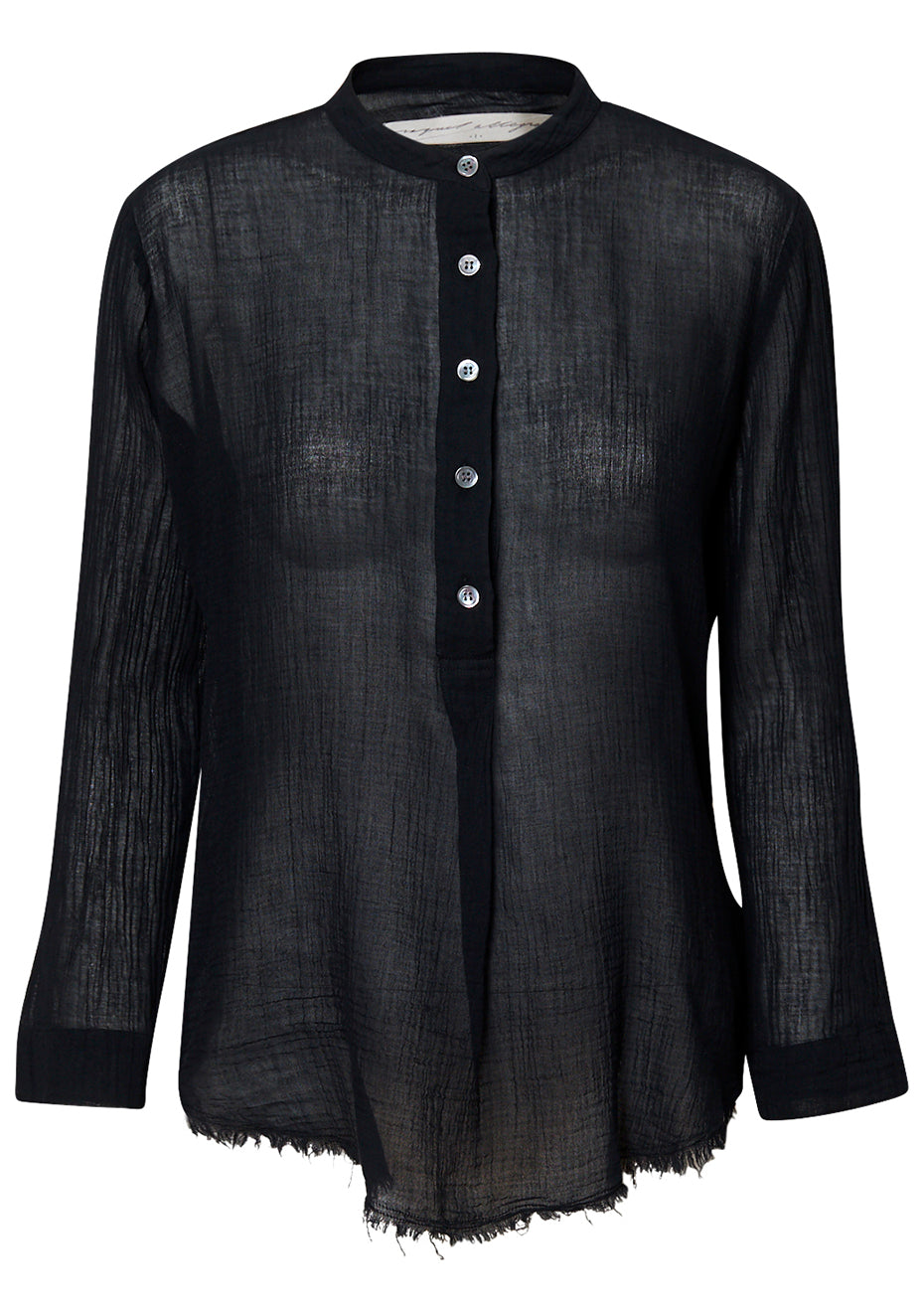 Perfect Henley Blouse Black