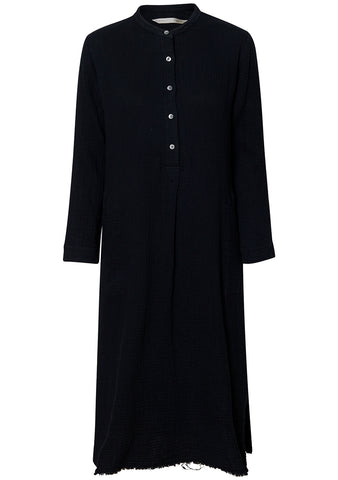 Gauze Henley Dress Black