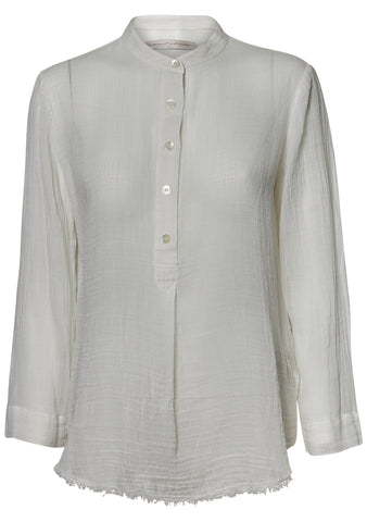 Perfect Henley Blouse White