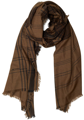 Army and Brown Cashmere Scarf